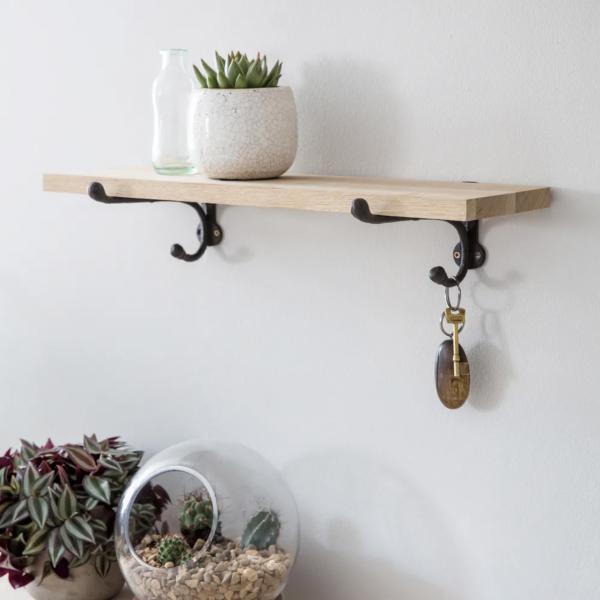 Oak & Cast Iron Shelf